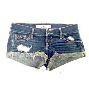 Hollister Short Shorts 0 W24 Distressed Dark Wash